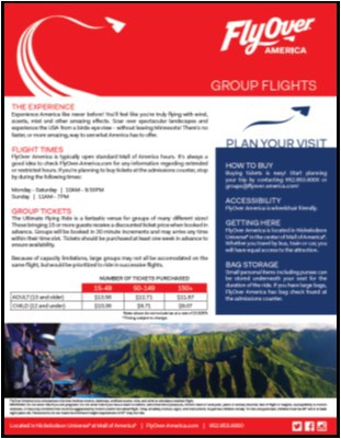 Flyover America Group Info Sheet & Pricing 2019
