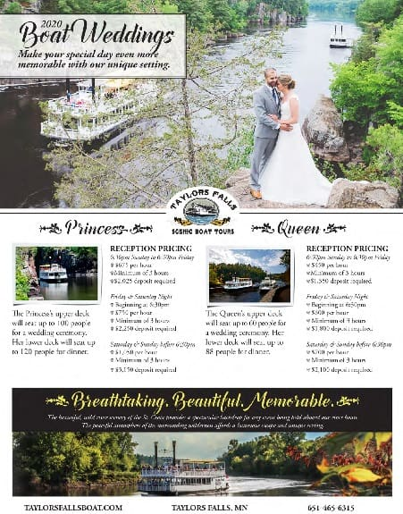 Taylors Falls Scenic Boat Rentals Weddings 2020