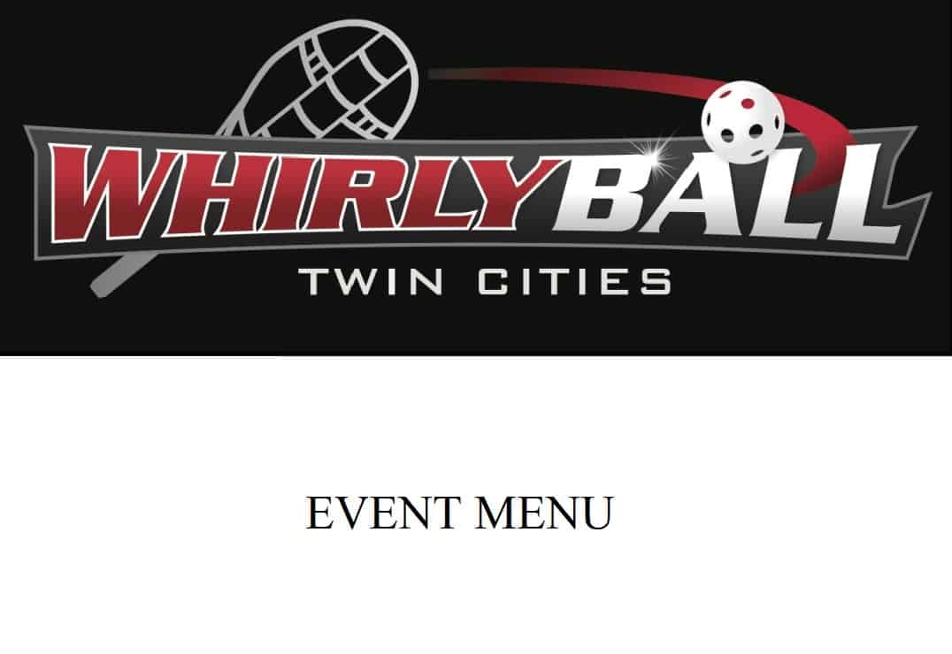 Whirlyball Event Menu