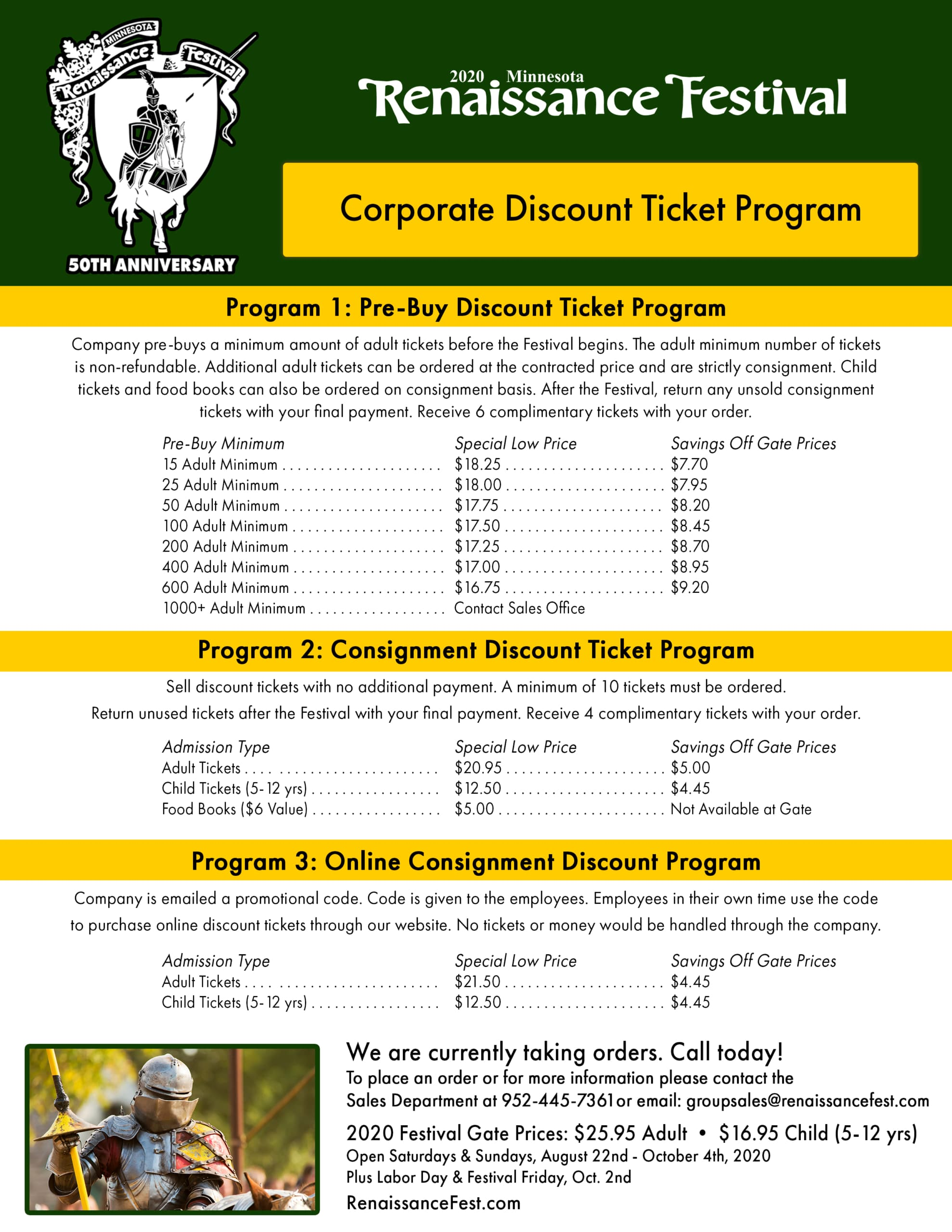 MN Renaissance Festival Corporate Discount Tickets