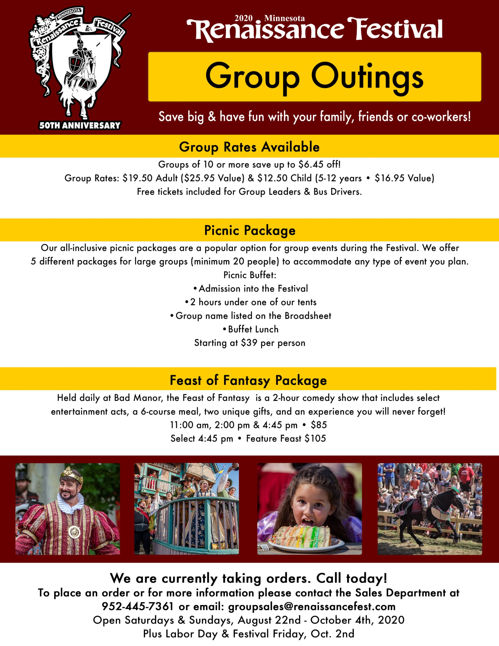 MN Renaissance Festival Group Outings Flyer